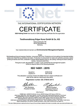 IQ net Certificate ISO 14001:2015 Environmental