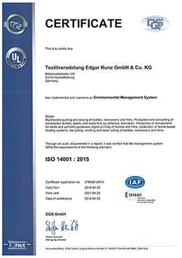 Certificate DIN ISO 14001:2015 Environmental